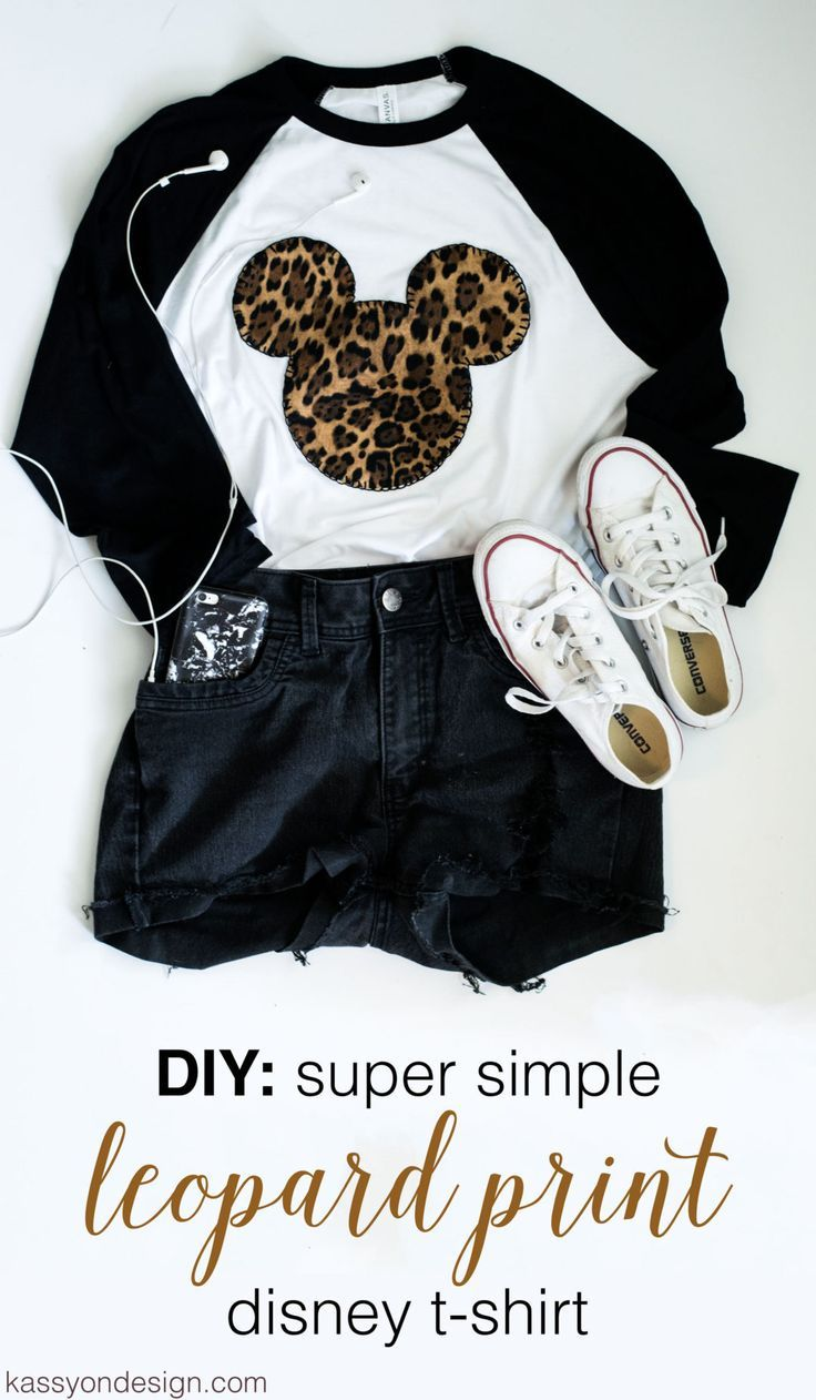 Disney DIY: Leopard Print Mickey Shirt, easy, disney, shirt, walt disney world, disney style, walt disney, WDW, what to wear, in disney, disneyland, how to, tutorial, no sew, iron on, animal kingdom, what to wear, disney on a budget, cheap, blanket stitch, leopard mickemickey shirt, mickey ears, mickey mouse head, mouse shirt, mickey mouse head shirt.: