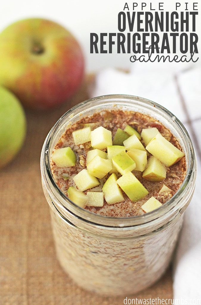 I'm not really what's better, the fact that this oatmeal tastes like apple pie, or that there's no cooking required! Overnight refrigerator oatmeal that tastes like apple pie... who can say no to that?!3 minutes of prep the night before and breakfast is done, making ita perfect easy breakfast recipe for busy mornings - and a hearty, healthy one too! :: DontWastetheCrumbs.com