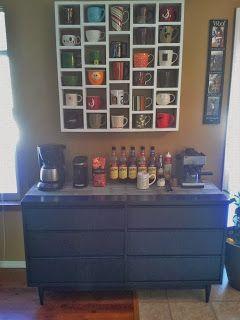 The coffee bar - with coffee mug display shelves