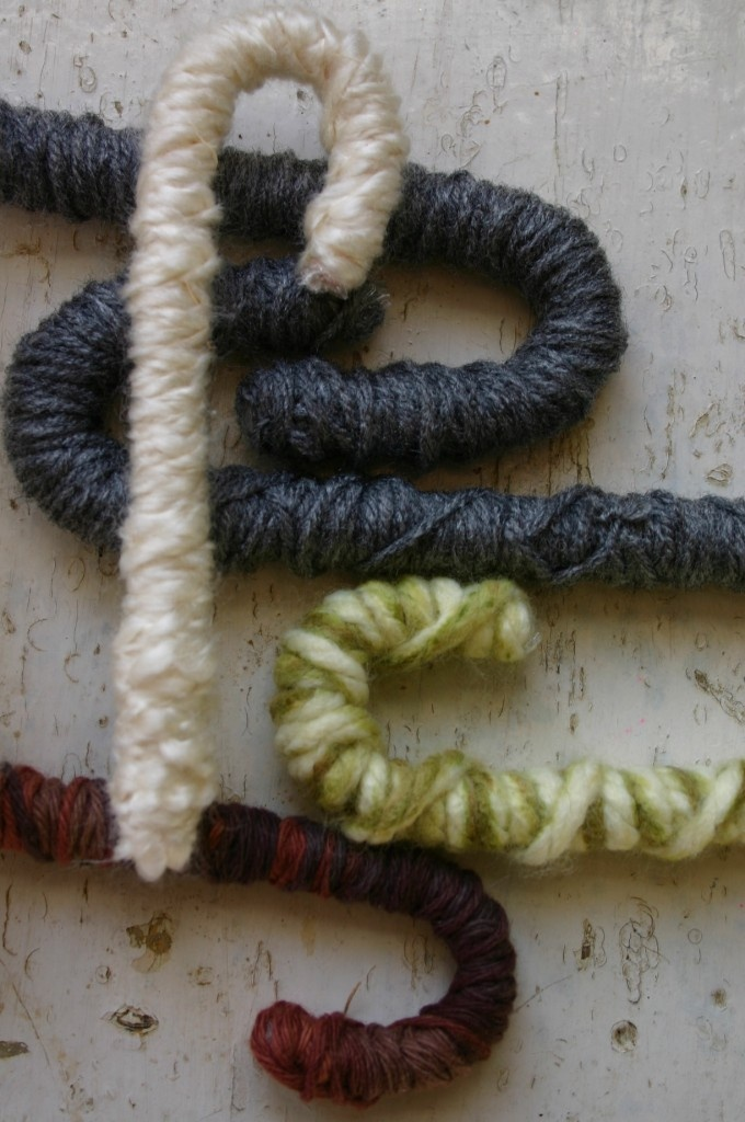fiber wrapped candy canes - idea for school gift, tree, table...  lurex yarn would be great too
