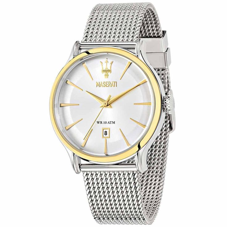 Maserati R8853118001 Men's Watch Epoca Stainless Steel Mesh Band Gold-Tone Accents