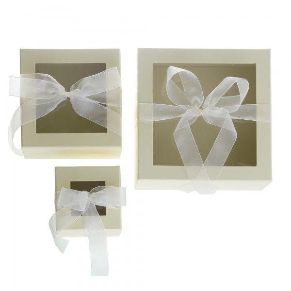 Window Box with Ribbon - Ivory