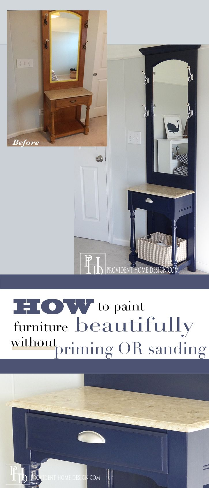 Have a piece of wood furniture that you no longer love?  Step by step tutorial to painting your wood piece a new color without having to sand or prime. Glossy beautiful finish!