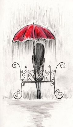 Image result for sad person with umbrella drawing