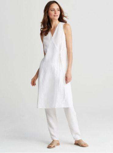 Eileen Fisher Organic White Linen V-Neck Wrap Top Tunic NWT Sz Med  fashion   clothing  shoes  accessories  womensclothing  dresses (ebay link) d6b07dc57