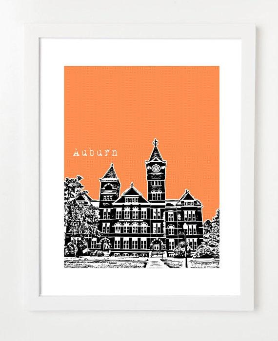 Auburn University Samford Hall Poster - Auburn Tigers -Auburn  City Skyline Art Print http://www.etsy.com $20