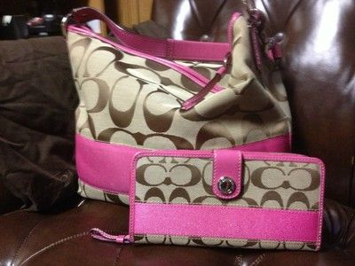 Coach Pink Signature hobo purse and matching wallet 100% Authentic