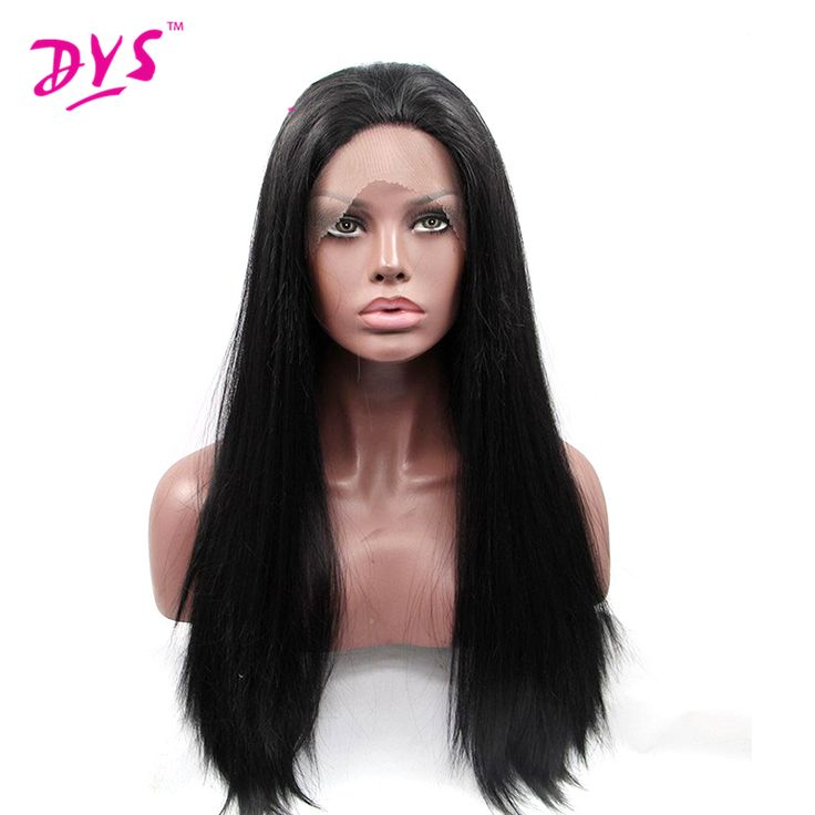 Deyngs Natural Hairline Straight Synthetic Lace Front Wigs for Black Women Black Hair Wig Heat Resistant Lace Wig Peruca