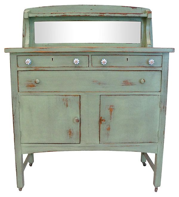 Distressed Green Buffet Hutch   Love the Look   One Kings Lane