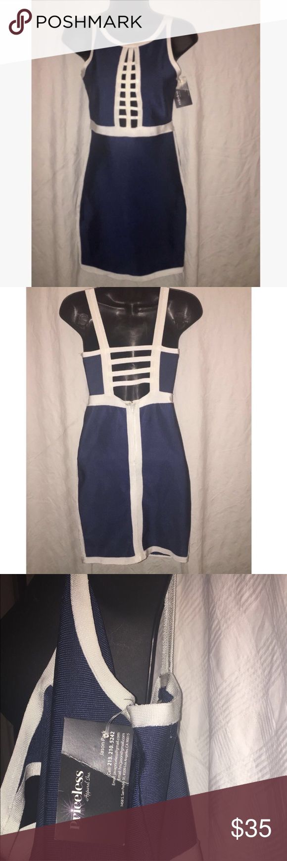 NEW Bandage Bodycon Dress, Size Small Brand new with tags attached. Size Medium in Navy and white. Has a length of 22 and a zip up back. May and July Dresses Mini