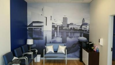 Wall Mural in a local dentist office #officegraphics #wallmural #Cleveland http://tmiky.com/pinterest