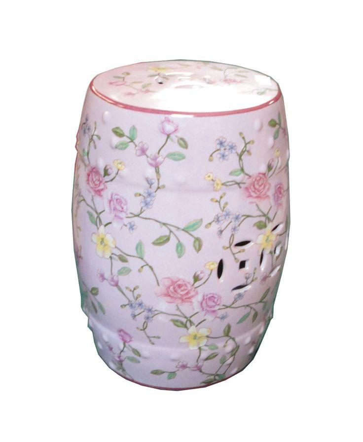 Pink Rose Porcelain Round Stool Ottoman