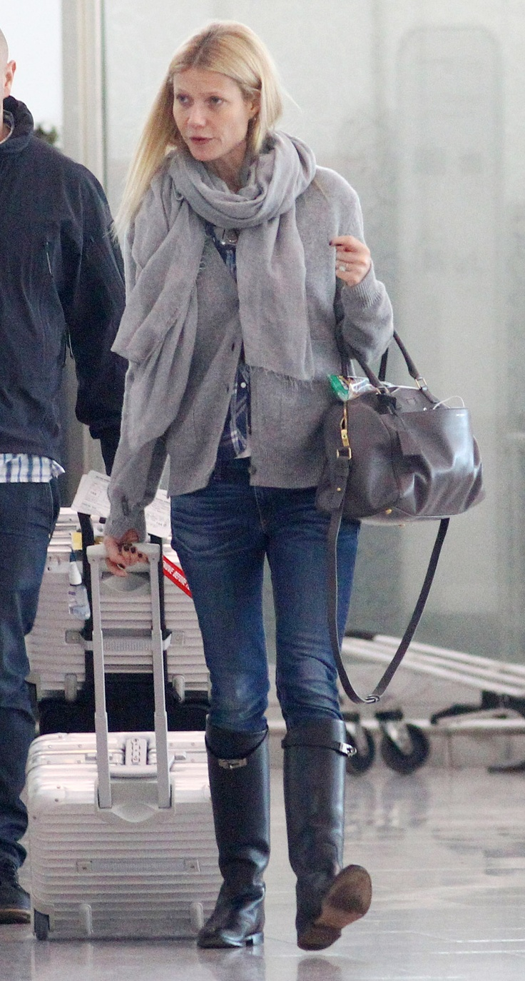 Gwyneth Paltrow travelling with the RIMOWA Topas Business Trolley while arriving at London Heathrow Airport