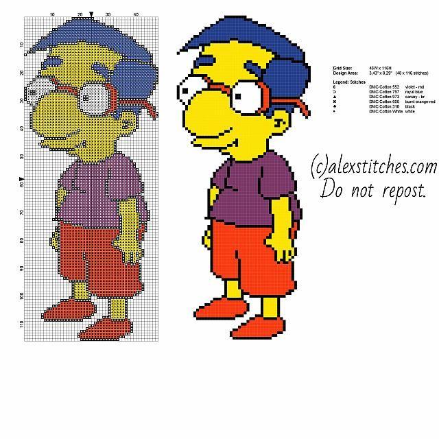 Milhouse Bart's best friend The Simpsons cartoon free cross stitch pattern