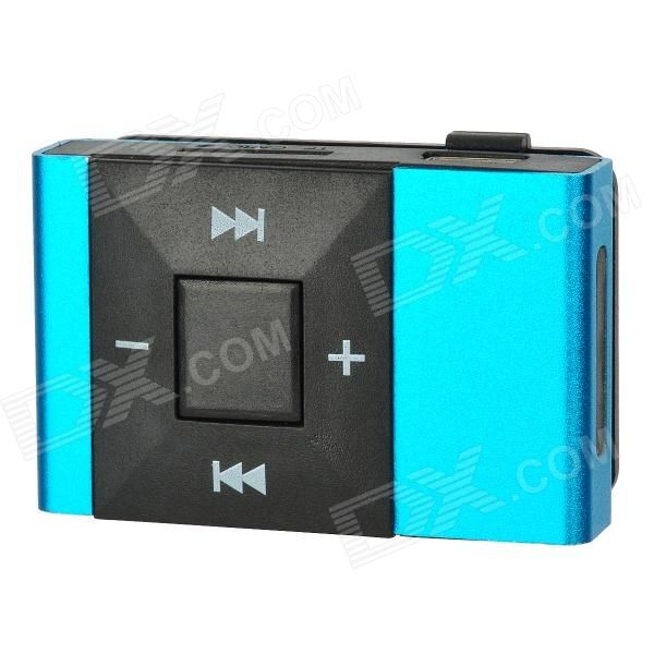 Rechargeable Screen Free MP3 Player w/ TF Slot / 3.5mm Jack - Blue + Black - Free Shipping - DealExtreme