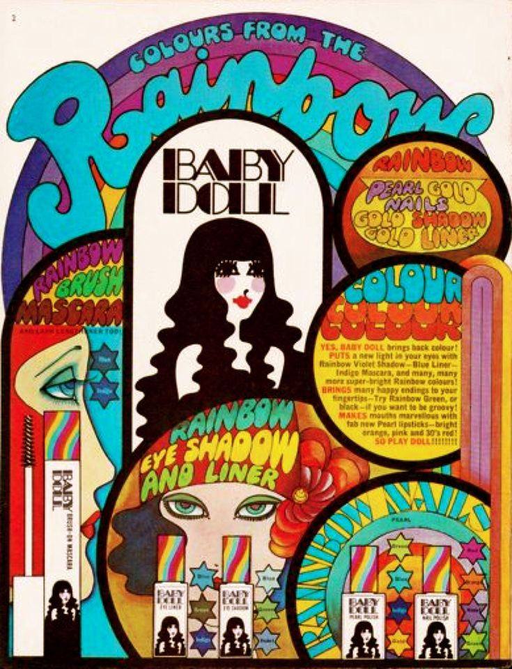 Vintage Psychedelic ad for Baby Doll cosmetics 1968