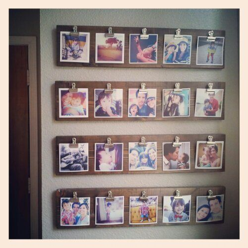 DIY: A creative rustic way to show off those Instagram photos or snapshots! Modernize it by painting the wood, instead of stain!