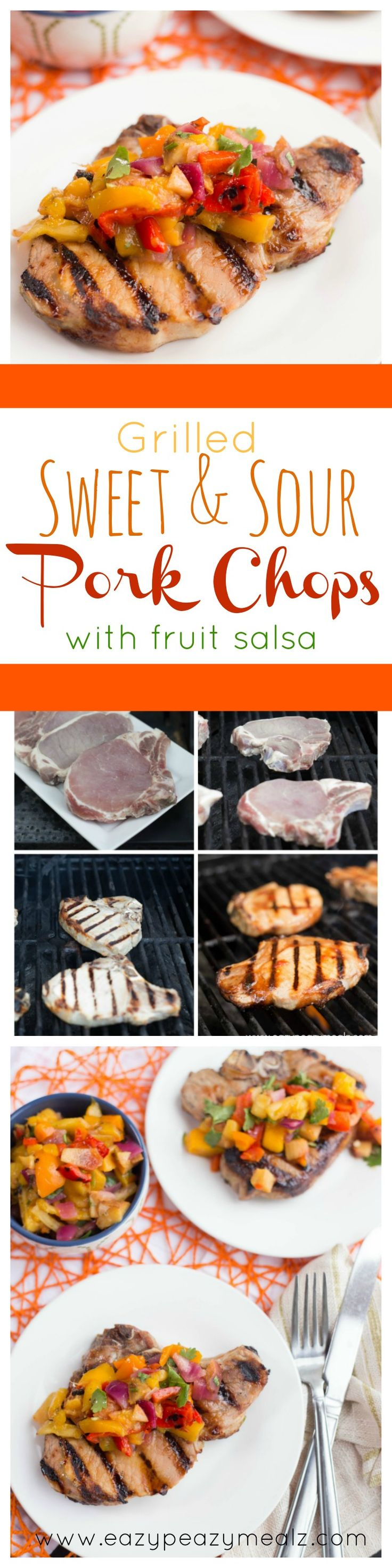 Succulent, juicy, tender pork chops grilled to perfection, slathered in sweet and sour, and topped with a grilled tropical fruit salsa. This is the perfect BBQ food! @porkbeinspired #GrillPork #ad - Eazy Peazy Mealz