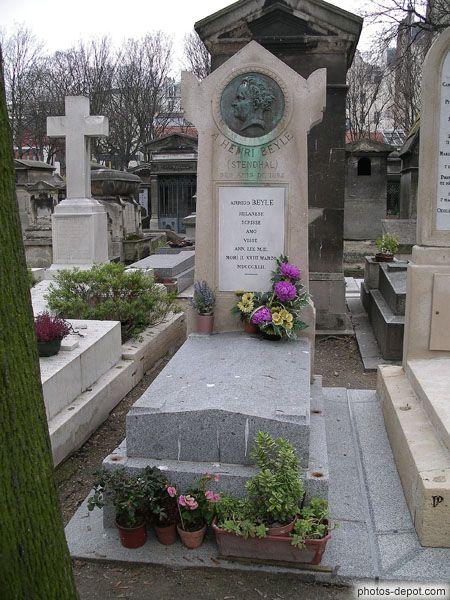 Deuxième tombe de Stendhal, après son déplacement dans le cimetière