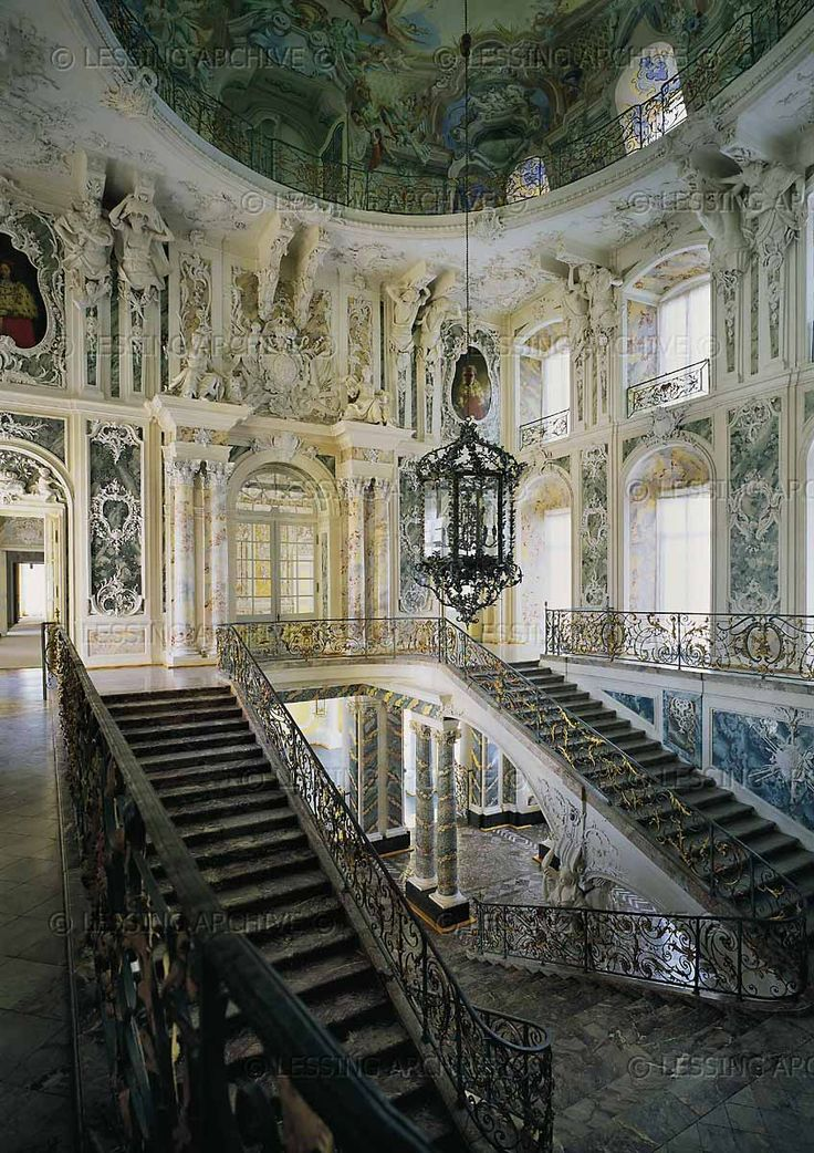 Augustusburg Palace, Bruehl, Germany ~ Staircase. The palace was the residence of the Prince-bishops of Cologne. It was built under elector Clemens-August (Wittelsbach, 1700-1761). Staircase was finished in 1743.