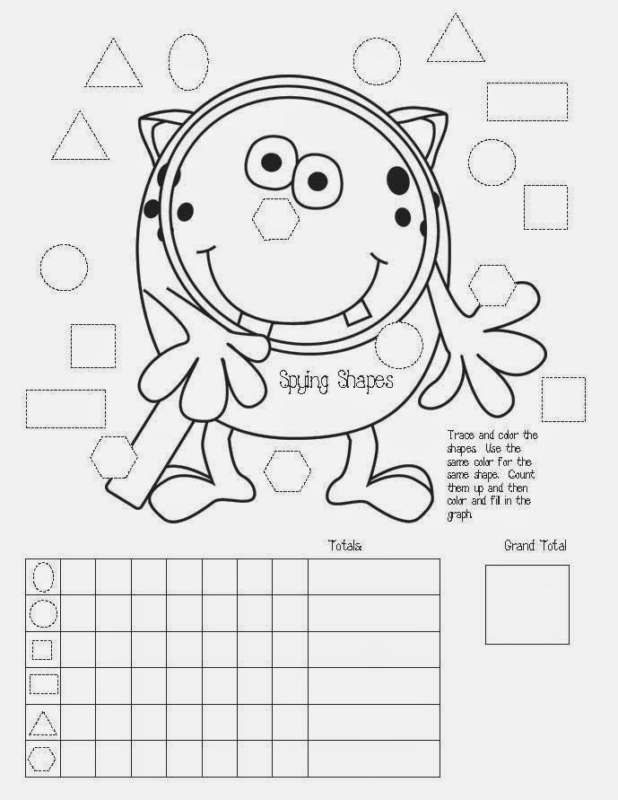 Monster activities: FREE My Shapely Monster packet. Includes an easy reader, plus worksheets like this graph.