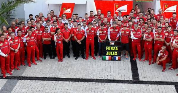 L'hommage de la Scuderia Ferrari à Jules Bianchi lors du Grand Prix de Russie à Sotchi. 2014