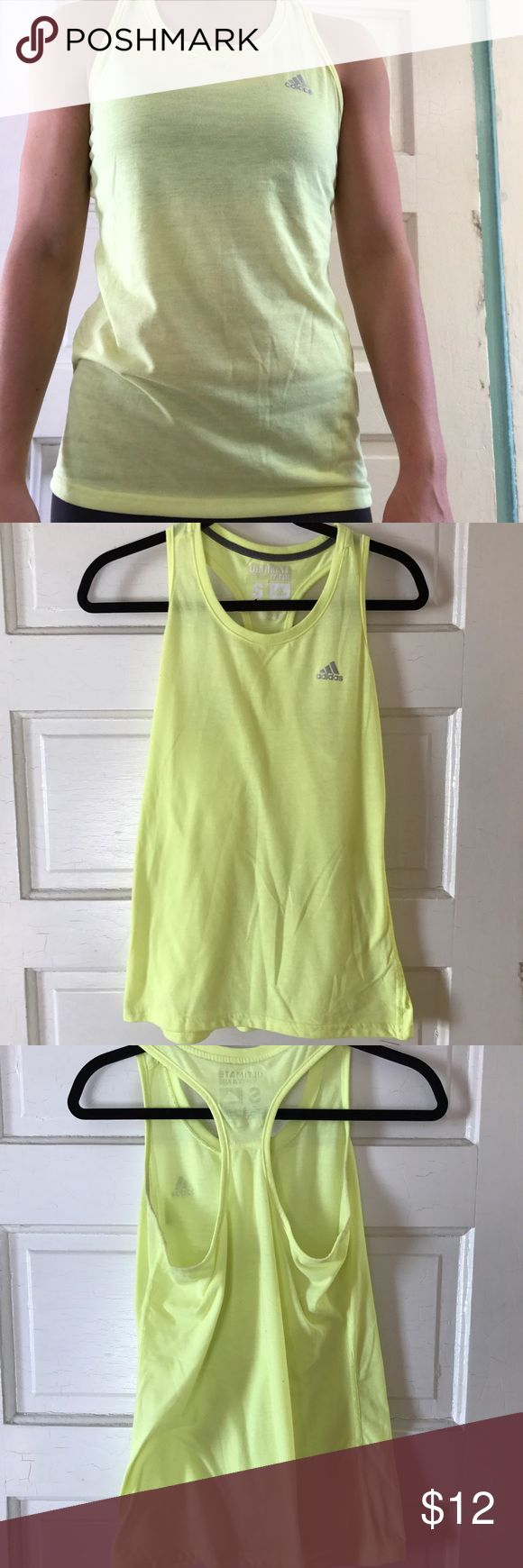 Adidas Neon Yellow Tank The neon yellow T-back tank has been loved but needs a new home! There are some arm pit stains that are hardly noticeable.                             • Fun Bright color  • Light Weight  • 1-2 day shipping Adidas Tops Tank Tops