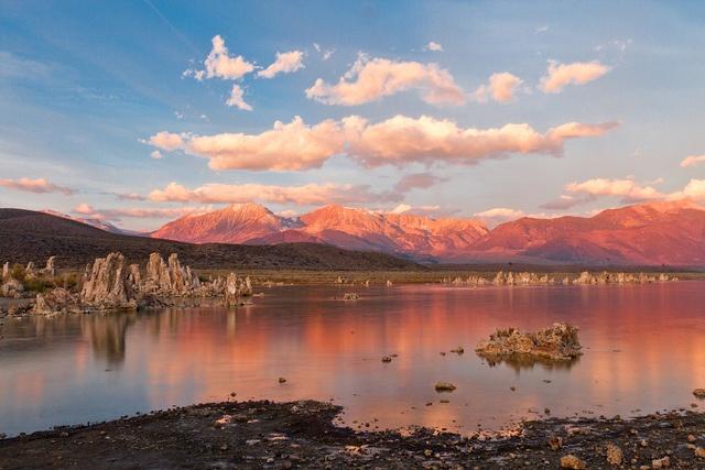 South Tufa on Mono Lake in California and the eastern peaks of the Sierra Nevada Range.