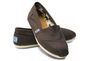 Coffee Toms Canvas Flat Shoes