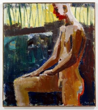 "David Park, Bather with knee up, 1957, 56X50"", oil on canvas"