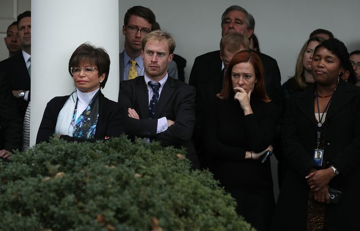 White House staff, including Press Secretary Josh Earnest (2nd L), senior advisor Valerie Jarrett (3rd L) and Communication Director Jen Psaki (2nd R), listen as U.S. President Barack Obama makes a statement on the election results at the Rose Garden of the White House November 9, 2006 in Washington, DC. Republican presidential nominee has won the election and will become the 45th president of the United States. (Photo by Alex Wong/Getty Images)  via @AOL_Lifestyle Read more…