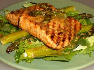 Recipe for Roasted Salmon and Asparagus Salad with Mustard Vinaigrette