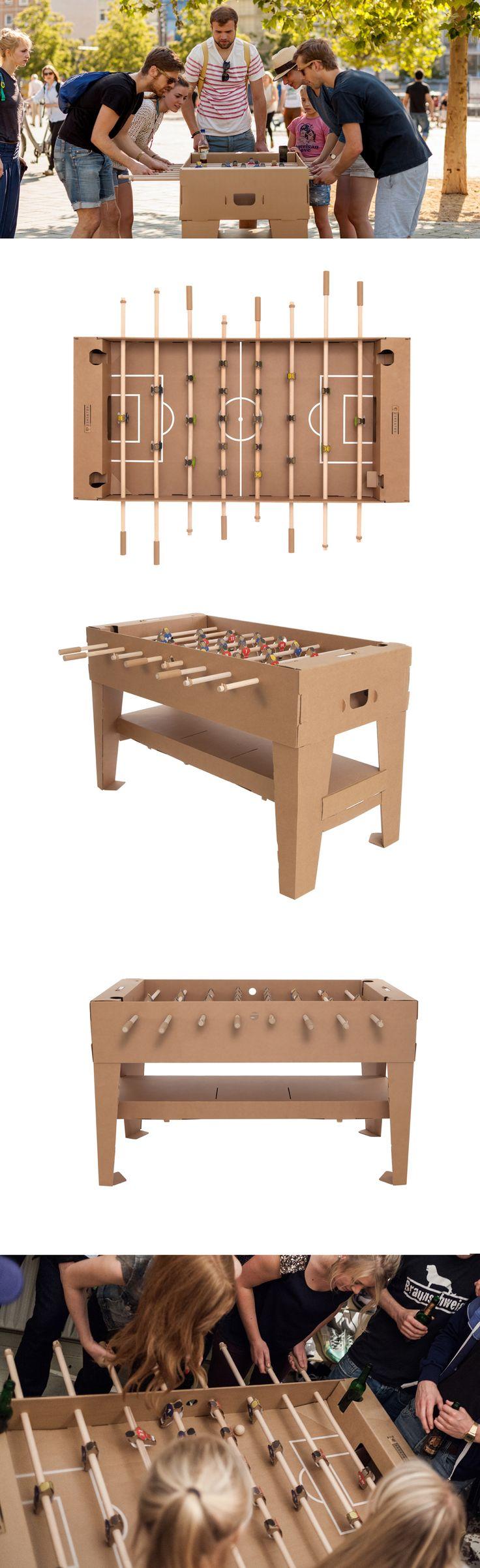 Soccer table in cardboard | futbolín de mesa de cartón | Avalilable at http://cartonlab.com/producto/futbolin-de-carton/ designed by Kickpack