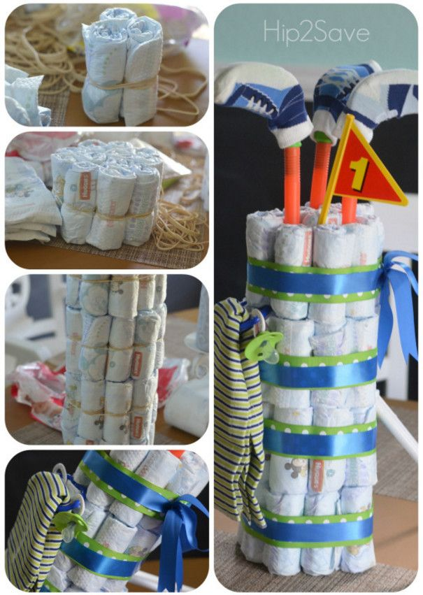 golf bag diaper cake instructions