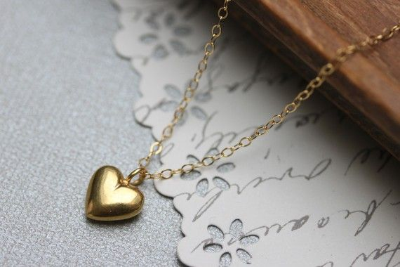 Gold Heart Necklace  Puff Heart  Gold Heart Pendant  by madebymoe, $33.00