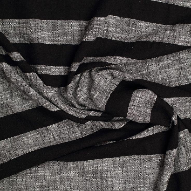 grijs zwart linnen katoen gemeleerd gestreept