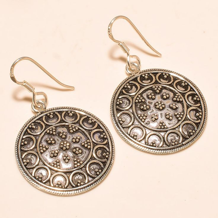 92.5% SOLID STERLING SILVER MARVELOUS ROUND SHAPE EARRING 4.20 CM #Handmade