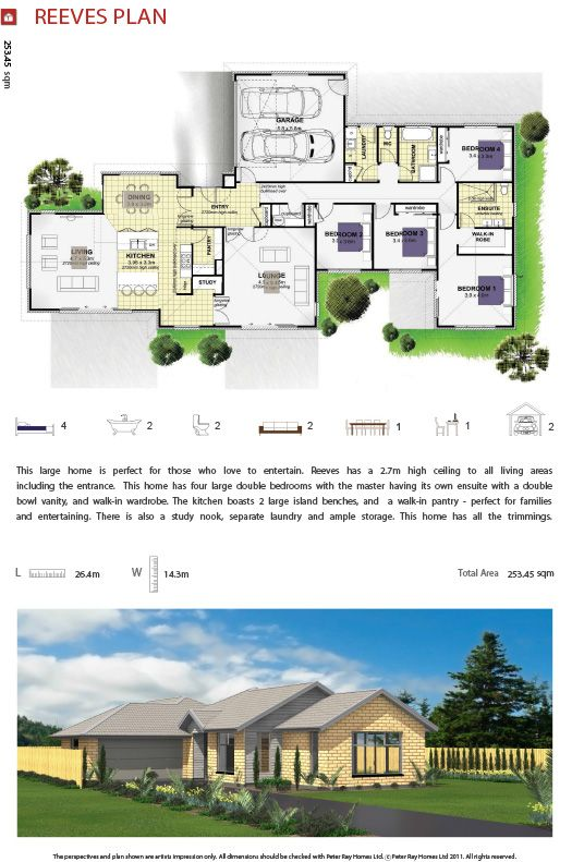 Peter Ray Homes - Single Storey Homes Over 250sqm - Reeves Plan - Home Builder, Christchurch, New Zealand