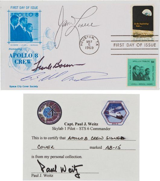 """Apollo 8 Crew-Signed First Day Cover Originally from the Personal Collection of Astronaut Paul Weitz, Signed and Certified, with Signed LOA. An FDC of the """"Apollo 8"""" stamp (Scott #1371), with a Space City Cover Society cachet, cancelled at Houston on May 5, 1969. It is signed on the front by the crew of this historic flight: """"James Lovell"""", """"Frank Borman"""", and """"Bill Anders"""". On the verso, Paul Weitz has written: """"I received this cover from / Jim Lovell/ Paul Weitz/ A8-15"""". Excellent…"""
