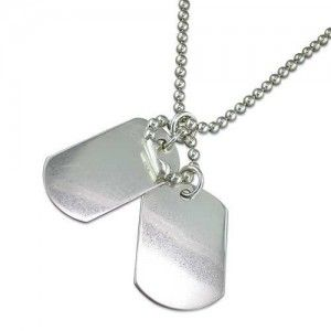 Sterling Silver Double Dog Tag & Chain For Men