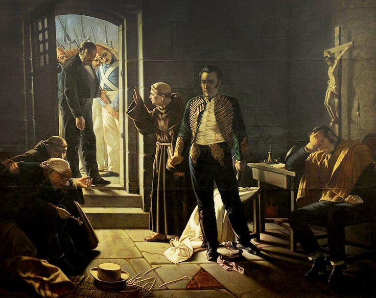 ÚLTIMOS MOMENTOS DE CARRERA, Fusilamiento de José Miguel Carrera en Mendoza, Argentina, el 4 de septiembre de 1821. Juan Francisco González, 1878.