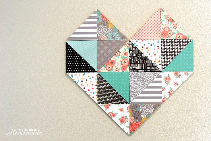 Geometric Heart with Patterned Paper by Jen Hadfield
