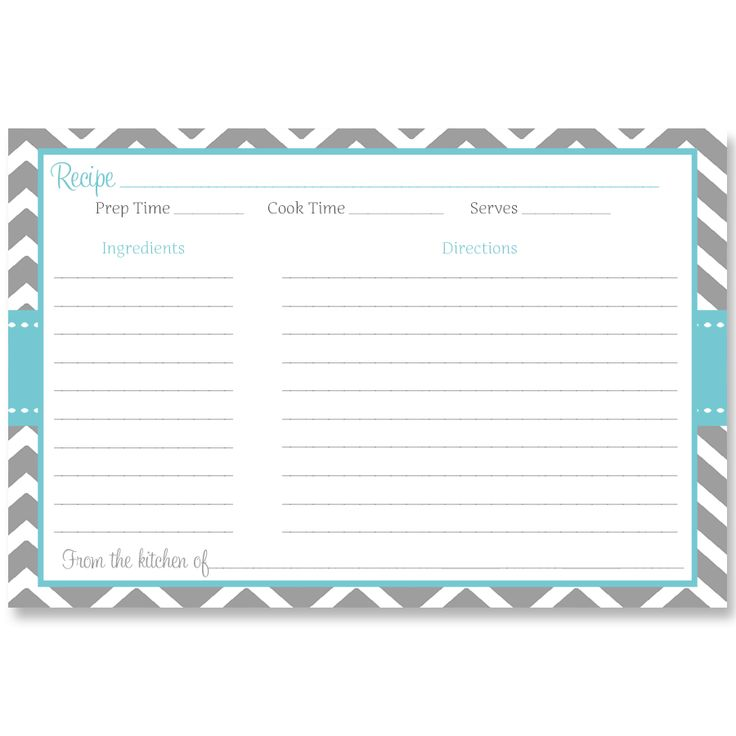 Stripes of Love, Aqua, Recipe Card for bridal showers by The Invite Lady
