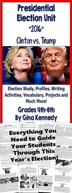 2016 Presidential Election Unit Everything you need to teach this year's election to your students. This is an unusual year and students will be talking and discussing this election. This unit will provide all of the background they need on the candidates, their stances on the issues, and the presidential election process itself. No prep! Print and teach!$
