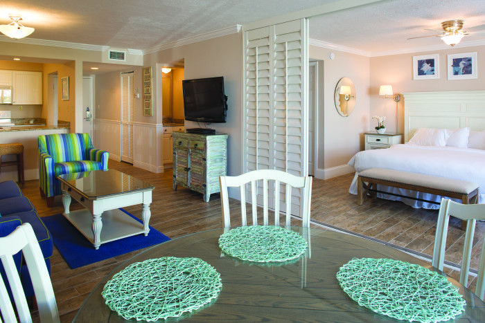 Escape the rain in a spacious suite at Sundial Beach Resort & Spa