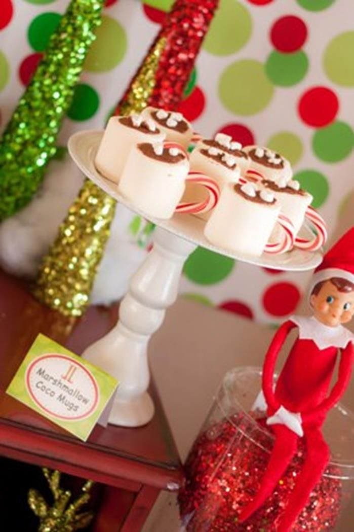 Cute Marshmallow hot chocolate mugs!  KarasPartyIdeas.com #ChristmasParty #HolidayParty #marshmallowhotchocolate