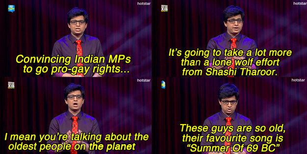 "On gay rights. | 15 Of The Funniest Moments From The First Season Of All India Bakchod's ""On Air With AIB"""