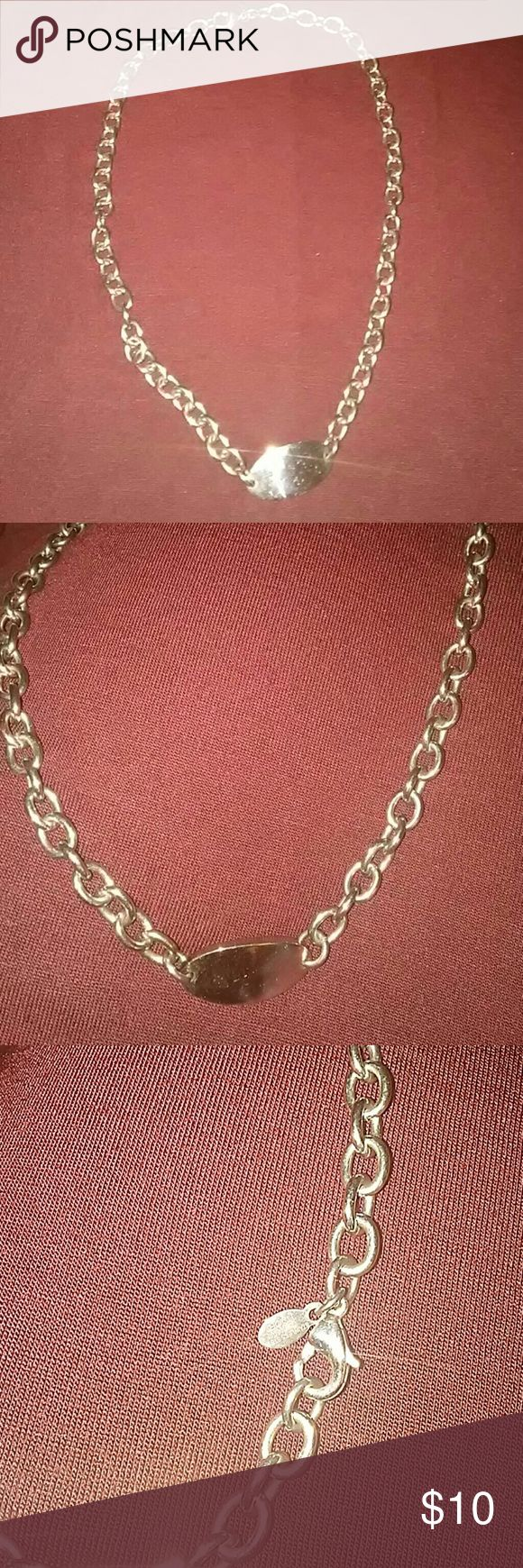 Stainless steel chain with engraveable plate Stainless steel China ITACR it says on chain tag.  Never worn. Stately stainless Jewelry Necklaces