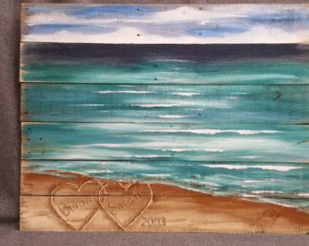 Beach Pallet wall Art handmade Hand painted by TheWhiteBirchStudio