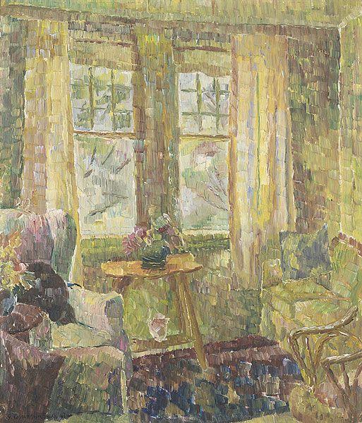 Interior da sala de estar. 1947. Óleo no cartão. Graça Cossington Smith (Sydney, Nova Gales do Sul, Austrália, 20/04/1892 - 20/12/1984, Sydney, Nova Gales do Sul, Austrália). Encontra-se na Galeria Nacional de Vitória
